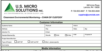 Chain of Custody Forms, Microbiology Laboratory Testing